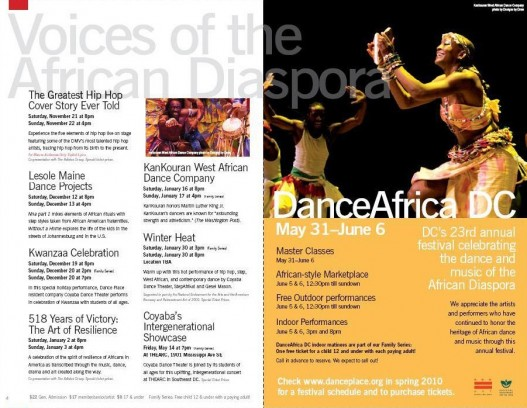 Dance Place Brochure page spread #1, Washington, DC