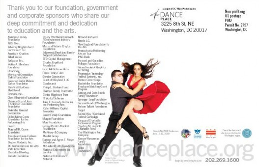 Dance Place Brochure back cover, Washington, DC