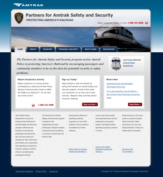 Partners for Amtrak Safety and Security website