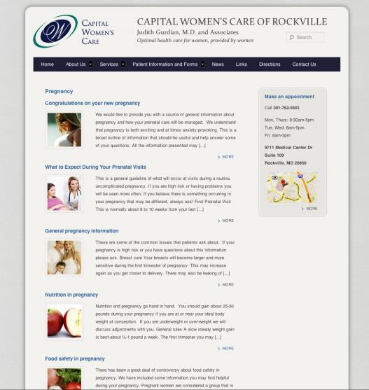 Capital Womens Care Responsive Website Design 2
