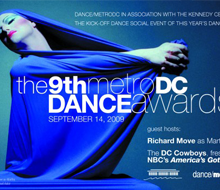 Metro/DC Dance Awards postcard and logo design